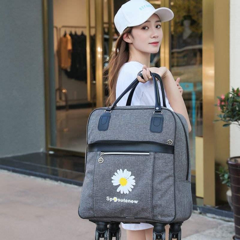 新款双肩拉杆旅行包女防水大容量手提行李袋短途旅游登机软箱轻便