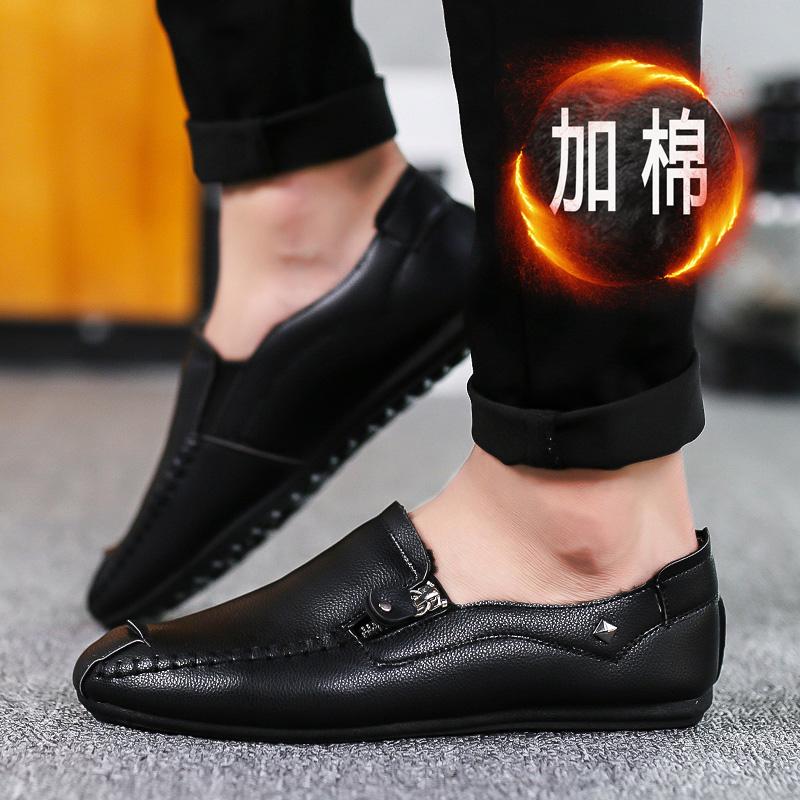 男士豆豆鞋休闲男鞋韩版潮流一脚蹬懒人冬季加绒保暖皮鞋英伦棉鞋