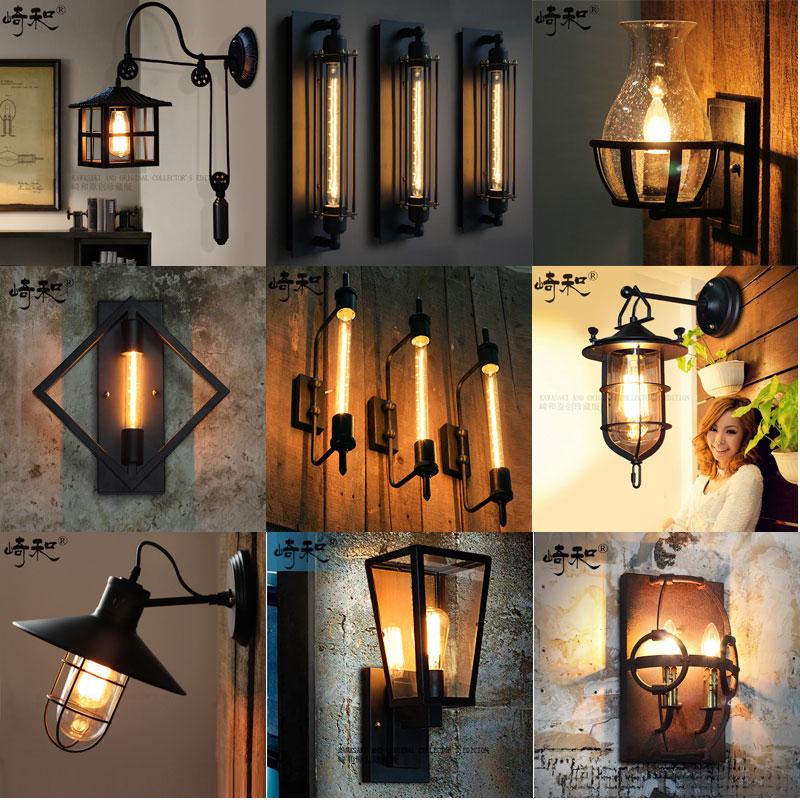 美式复古工业风玻璃壁灯Loft餐厅铁艺走廊美式过道客厅阳台墙壁灯