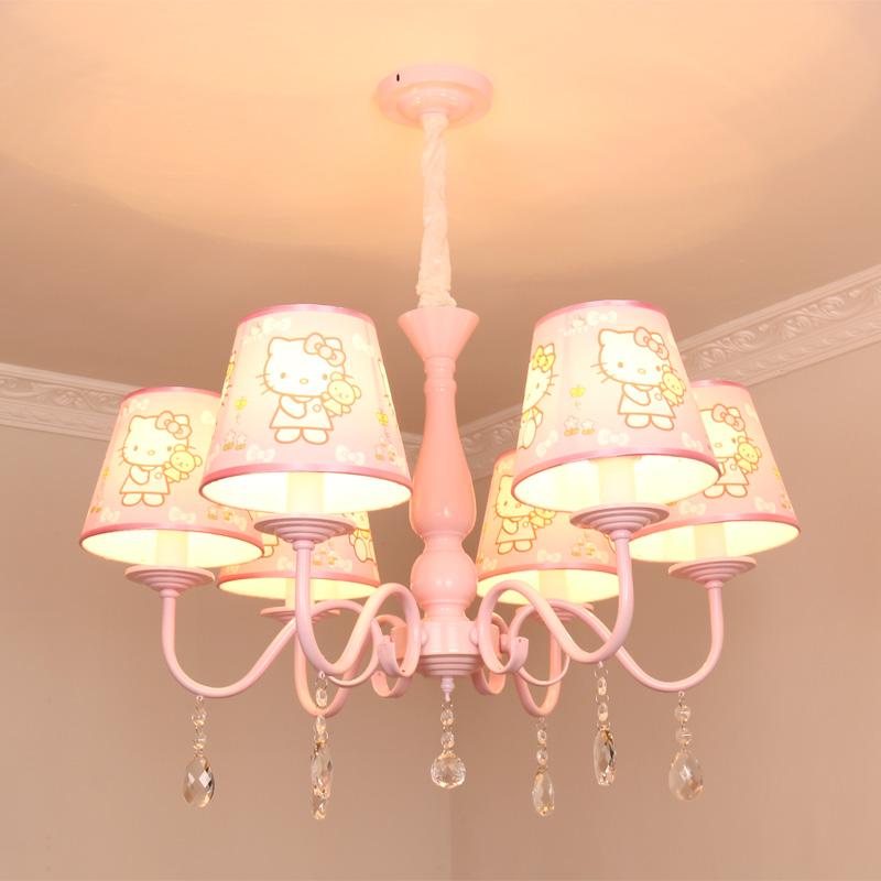 欧式粉色女孩公主吊灯卧室书房led灯创意hello kitty凯蒂猫儿童灯_林鸿灯饰家居企业店