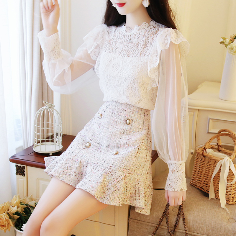 2018秋季女神套装小香风蕾丝衫+毛呢双排扣半身裙网红名媛两件套
