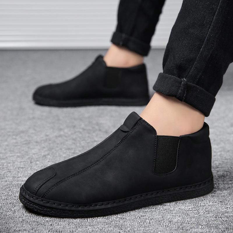 秋冬季男鞋子一脚蹬懒人鞋韩版潮流豆豆鞋男士休闲鞋高帮板鞋棉鞋