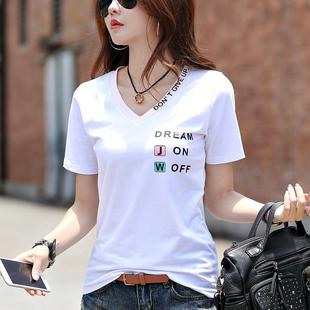 2019春夏装新款纯白色V领短袖女T恤韩版半袖小衫宽松体恤衫上衣服