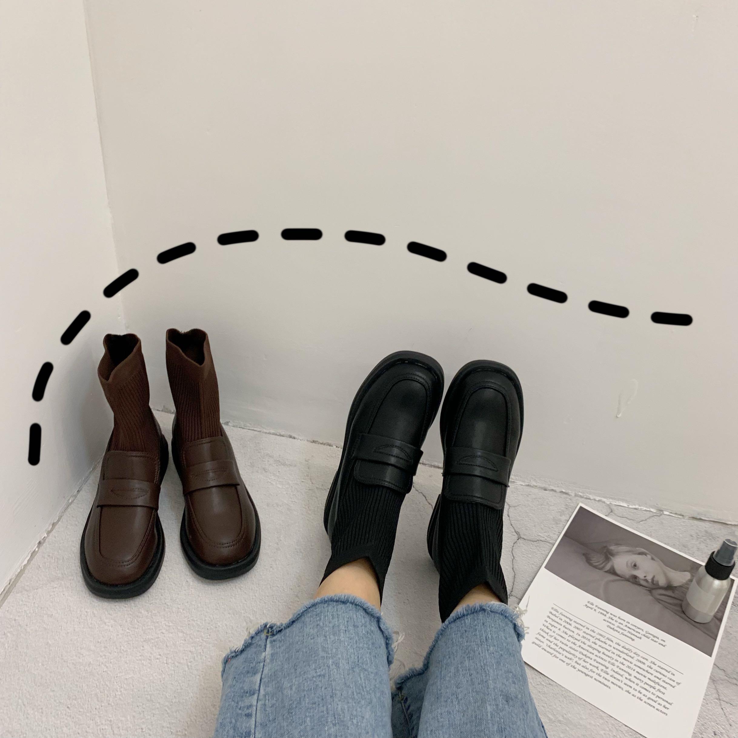 实拍 学院风英伦小皮鞋女2019春秋新款弹力袜子靴厚底针织短靴-Nikki-
