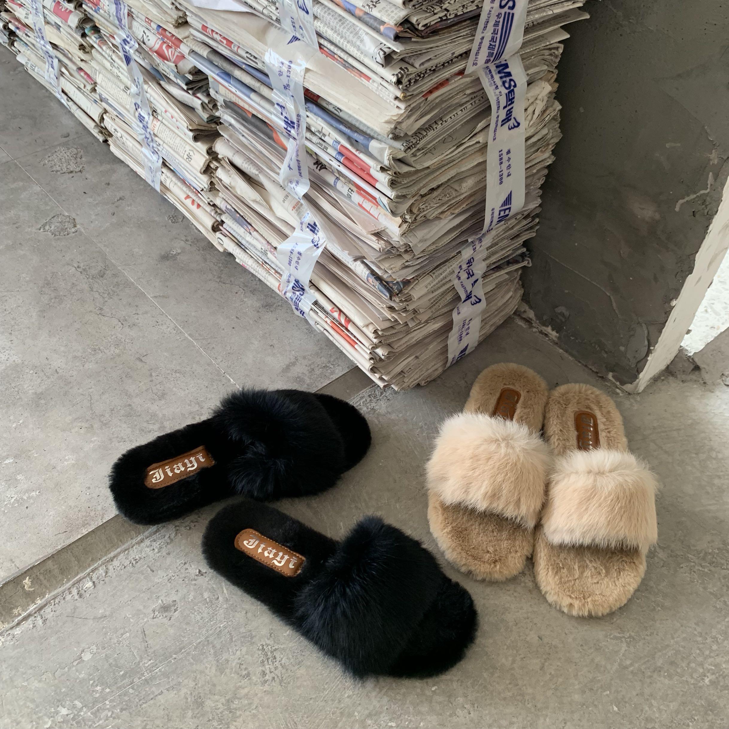 实拍 毛毛拖鞋女网红2019韩版新款秋季外穿时尚平底ins一字拖-Nikki-