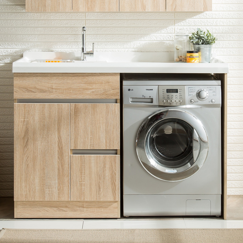 洗衣柜阳台滚筒组合柜金刚石台盆洗衣机柜伴侣浴室柜组合带搓衣板