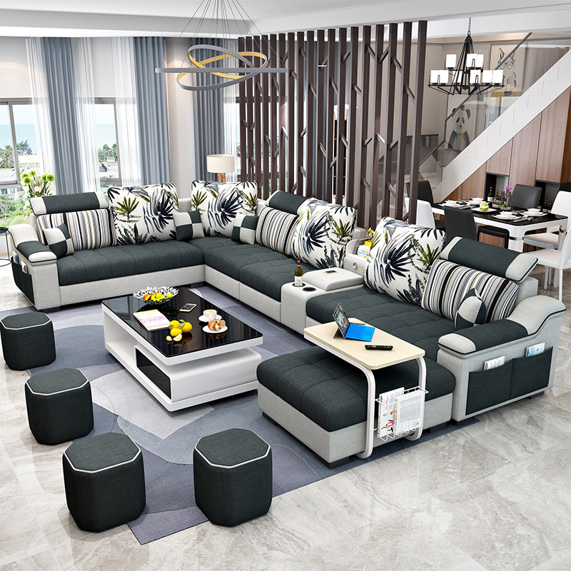 简约现代布艺沙发 大小户型客厅整装家具可拆洗U型布沙发套装组合