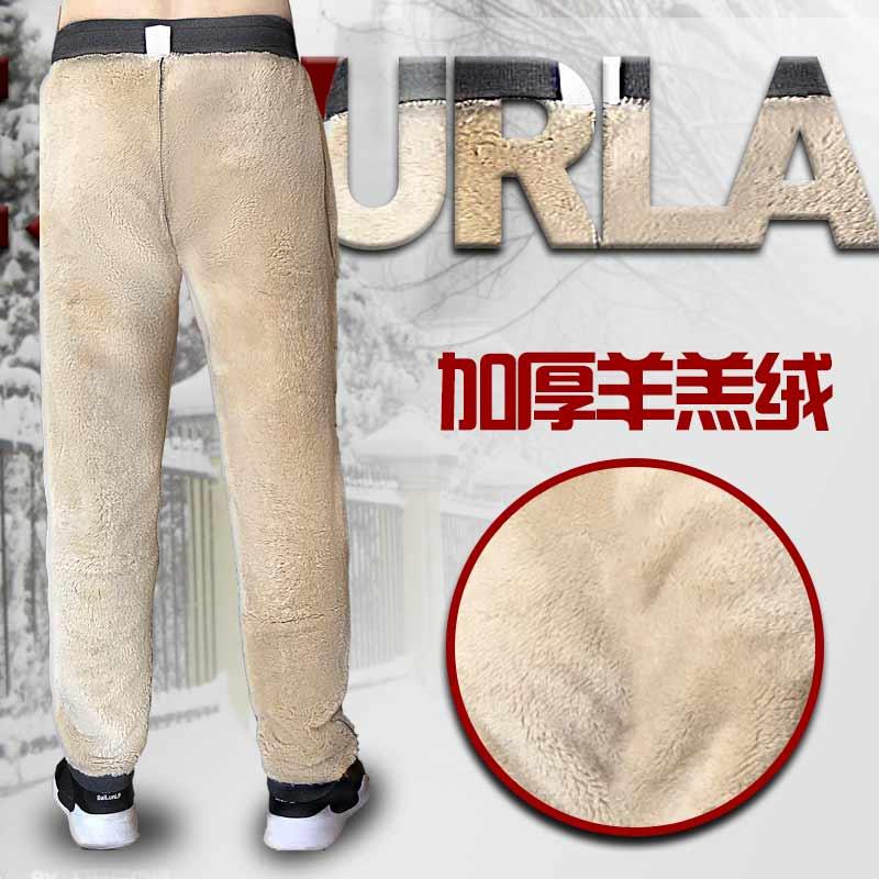 冬新男加绒卫裤 加厚宽松保暖棉裤中老年人仿羊羔绒特大号运动裤