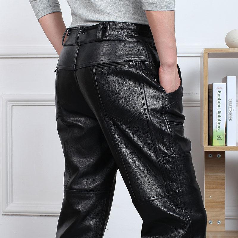 头层牛皮男士真皮皮裤 高腰宽松保暖摩托直筒加棉中老年厚羊皮裤