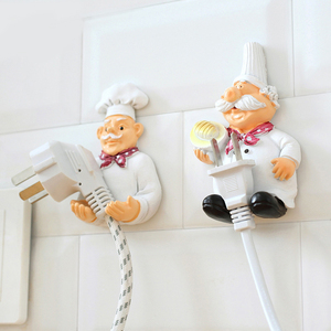 Plug hook cartoon chef storage finishing power cord creative kitchen bedside table free punching strong self-adhesive hook