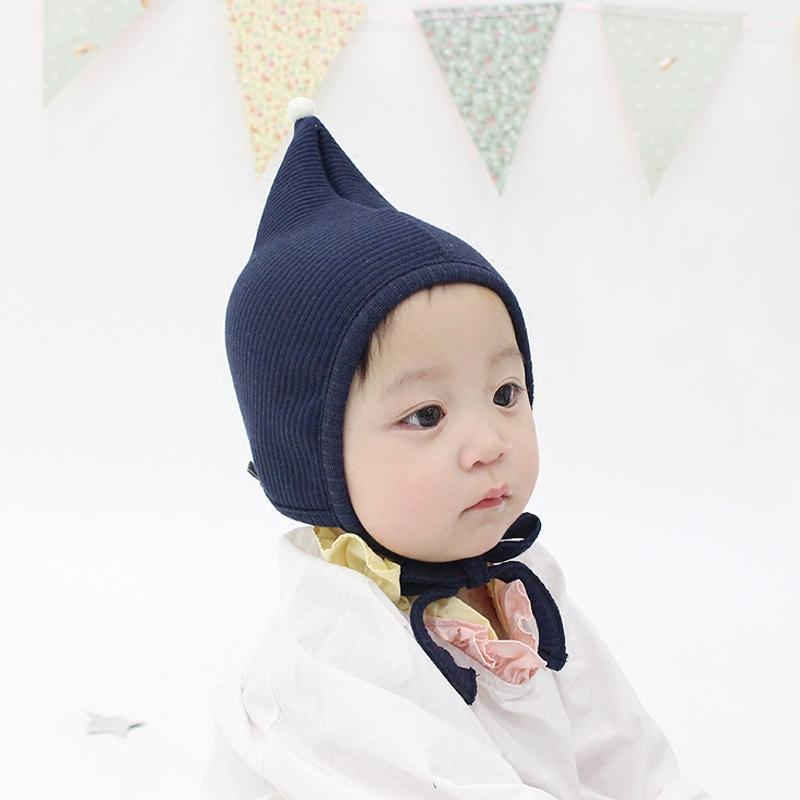 韩国进口婴儿帽子春秋纯棉胎帽男女宝宝尖顶精灵帽新生儿童宫廷帽