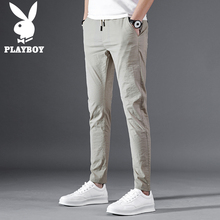 Playboy casual trousers Men's Body-building Summer Slim Korean version of 100-pair fashion trousers Men's small feet 9-minute trousers