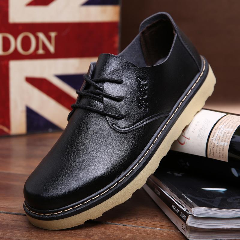 春季新款男鞋 软皮潮鞋大头鞋男士休闲皮鞋英伦工装鞋防滑