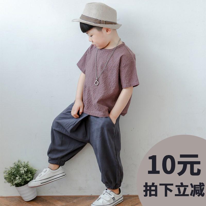 童装男童夏装棉麻短袖套装儿童2019新款夏季中小童宝宝两件套韩版
