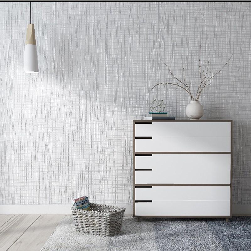 现代简约白色素色卧室客厅无纺布灰色家用墙纸浅灰亚麻北欧风壁纸