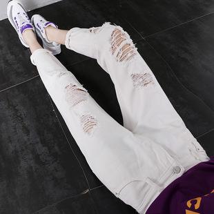 白色破洞牛仔裤女宽松九分裤2019夏季新款韩版显瘦高腰老爹哈伦裤