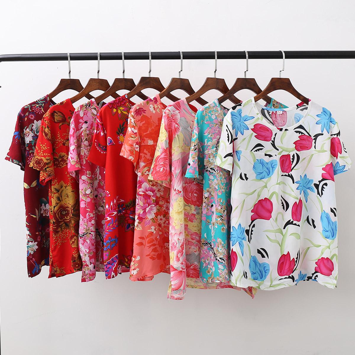 夏中老年女士人造棉单件上衣棉绸短袖宽松大码妈妈睡衣家居服包邮
