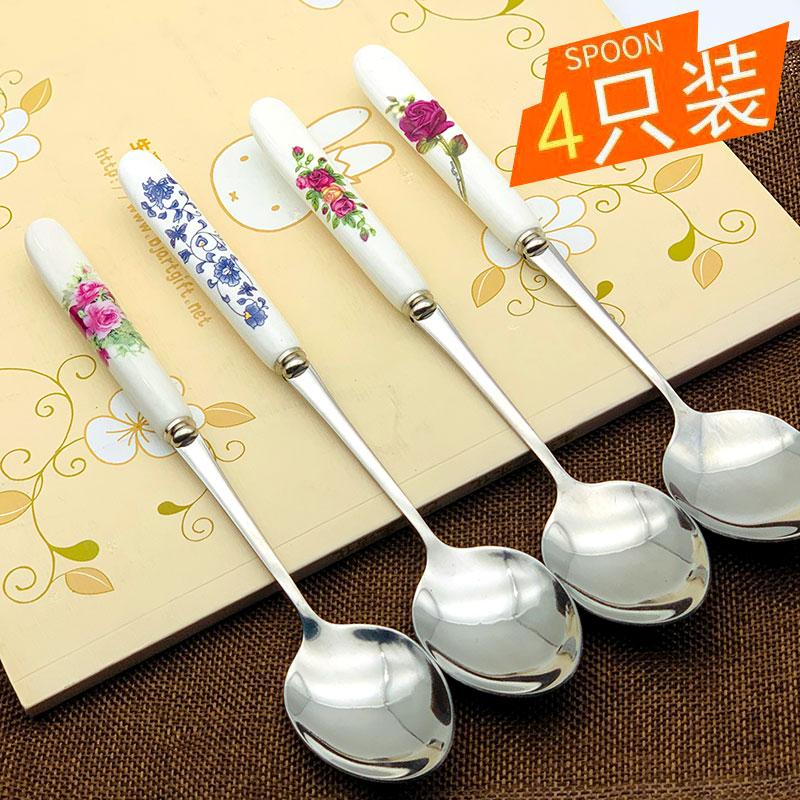 不锈钢大号圆勺长柄勺子创意可爱陶瓷家用调羹汤匙成人学生吃饭勺