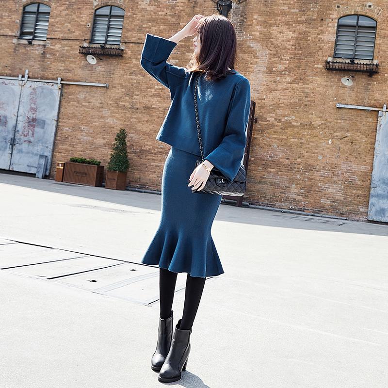 毛衣套装裙两件套甜美时尚名媛气质鱼尾裙子半身裙针织时髦套装秋