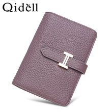 Wallet women's short ins simple leather three fold Wallet 2019 new folding multi position card bag women's small wallet