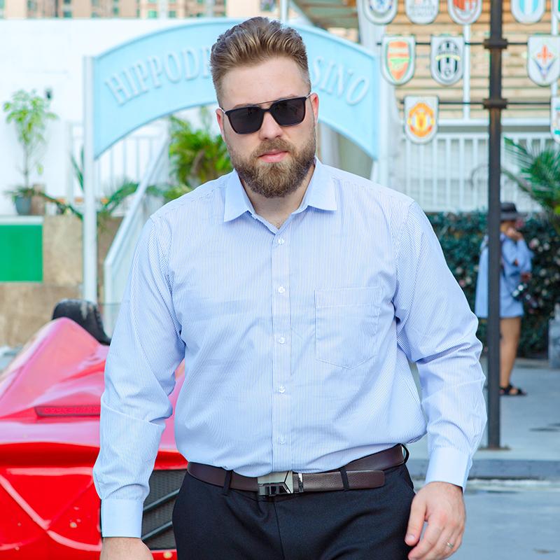 显瘦男士长袖单衬衣加肥加大特大号码肥佬胖子宽松工装职业装衬衫