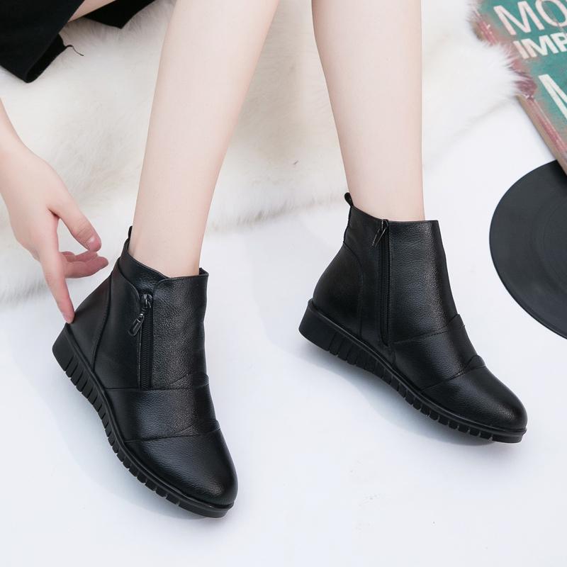 短靴女平底撤柜女靴真皮妈妈鞋冬季中老年人棉鞋加绒老人女士靴子