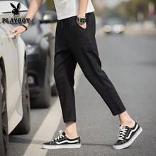 Playboy Summer Checker Pants Trend Nine-minute Pants Men's Korean Leisure Pants Nine-minute Pants Small Foot Fashion Men's Pants