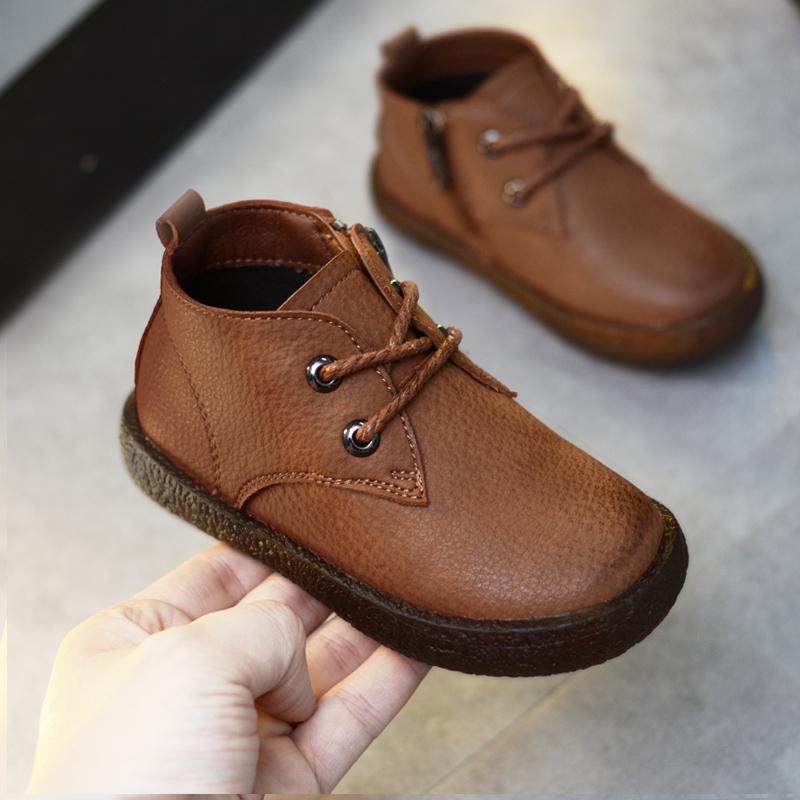 男童皮鞋冬季加绒黑色
