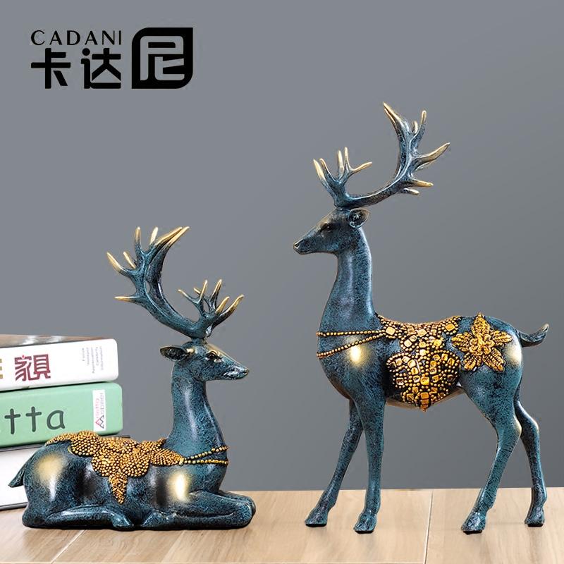 招财鹿创意欧式抖音家居电视柜客厅装饰品摆件美式玄关乔迁新居