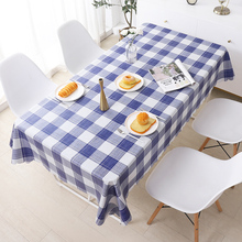 北欧格子餐桌布布艺防水防油bo10烫免洗ne布网红ins长方形台布