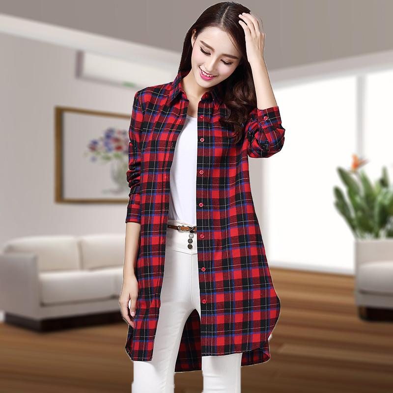2019春秋新款女装韩版宽松中长款纯棉格子衬衫女百搭长袖衬衣外套
