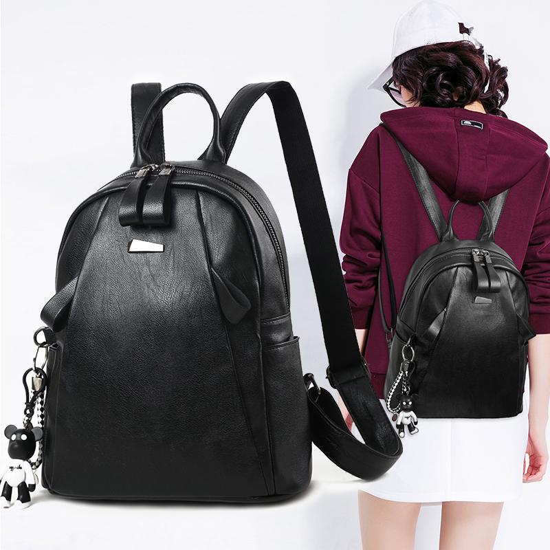 双肩包女韩版时尚百搭个性休闲包包2017新款潮pu软皮书包旅行背包