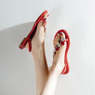 妙侣2019新款平底套趾斜边细带凉鞋女平跟沙滩鞋一字搭扣罗马女鞋