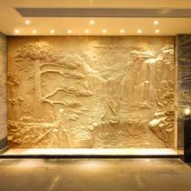 專胰楔制人造砂岩玻璃鋼仿銅浮雕背景牆山水人物雕塑浮雕裝飾壁畫