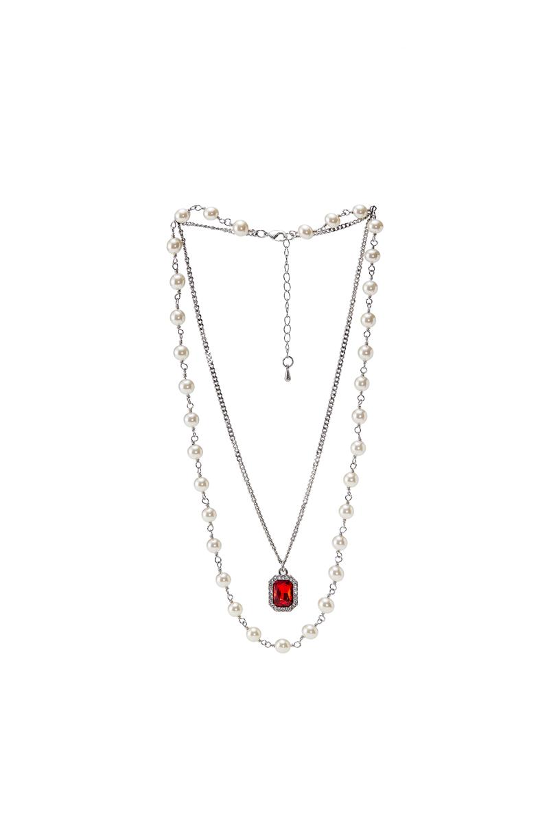 「Rabbit.b」现货Nbo廖效浓同款珍珠拼接红色宝石吊坠