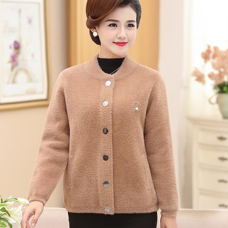 妈妈秋冬装新款保暖水貂绒针织衫厚外套中老年女装短款双面绒开衫