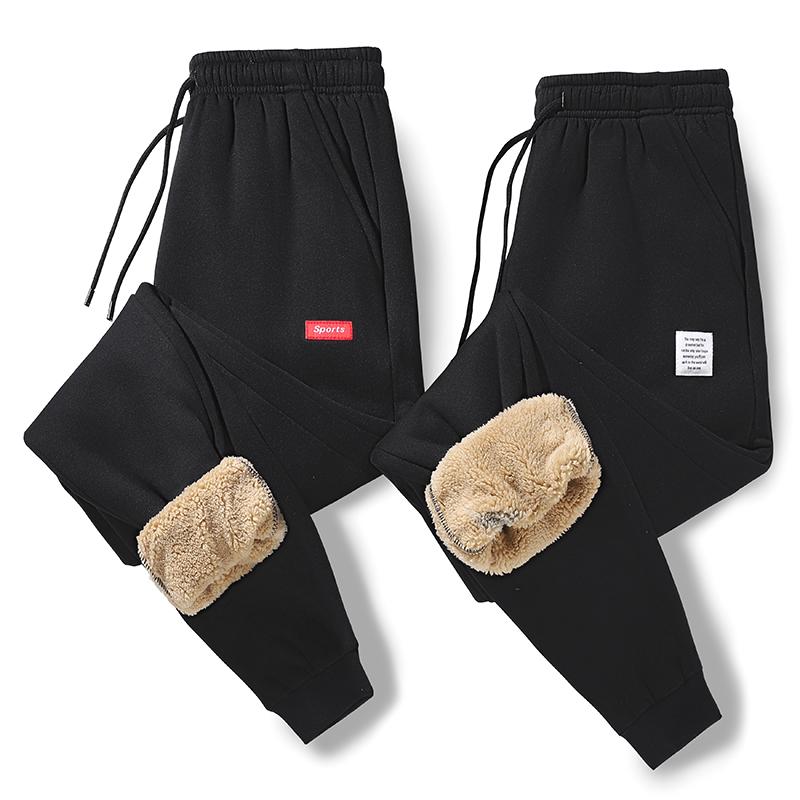 男士运动裤男加绒加厚棉裤冬季长裤保暖羊羔绒束脚卫裤-K1999-P35