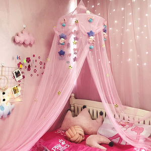 Girl pink princess wind dome mosquito net suspended ceiling free installation bed curtain net red INS home bedroom child bed