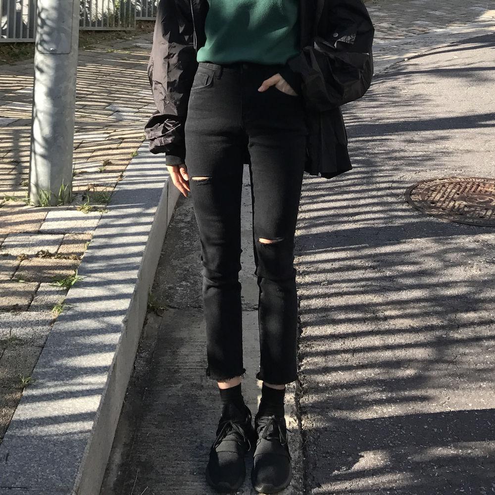 胖妹妹超大弹力牛仔裤女韩版修身显瘦大码高腰九分破洞裤子200斤