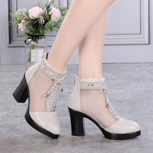 雪地意尔康真皮高跟网纱凉鞋女夏ss12跟20lr头大码网靴凉靴子