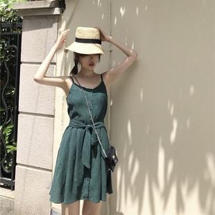 夏季韩风Chic裙子女夏系带修身显瘦连衣裙气质温柔风吊带裙外穿