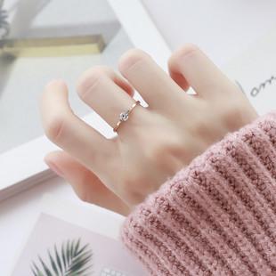时尚韩版镀玫瑰金钛钢情侣戒指学生镶钻单钻戒指男女对戒尾戒指环图片