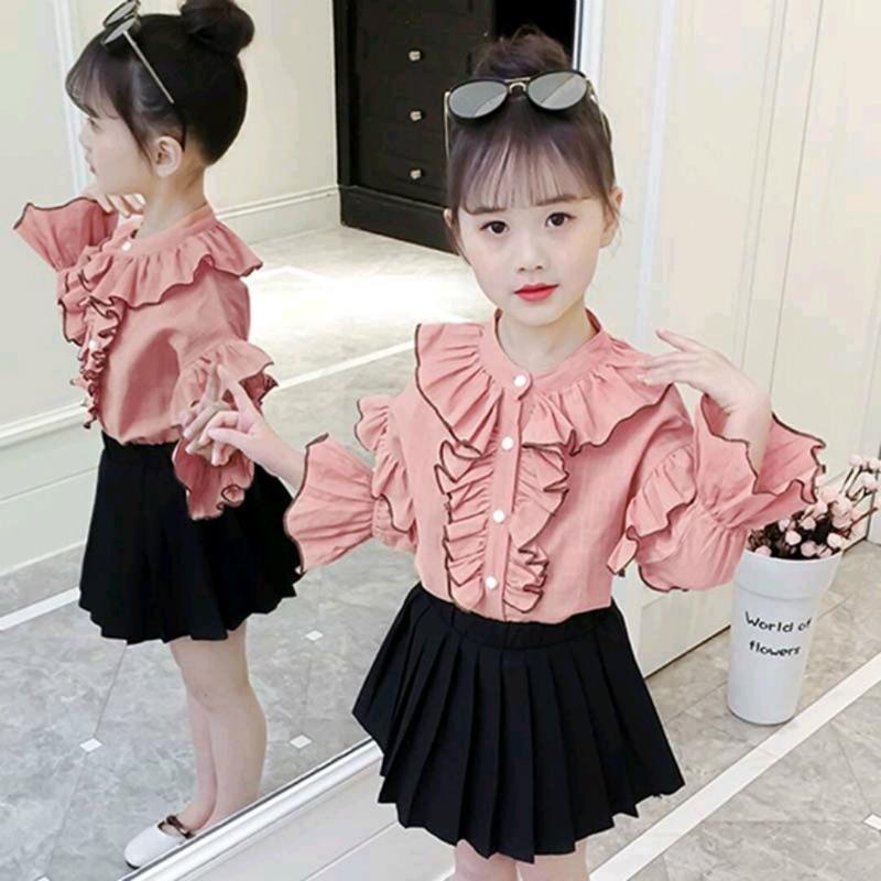 女童长袖衬衫2019秋季新款儿童装小女孩衬衣洋气中大童春秋上衣潮