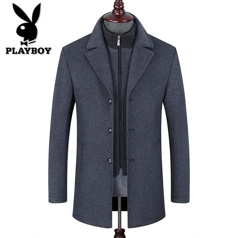 花花公子男装夹克中长款羊绒上衣加绒加厚秋冬季中年男士毛呢外套