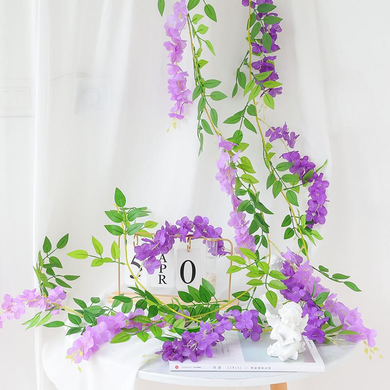 仿真紫藤花串豆花藤蔓植物装饰紫罗兰假花藤条婚庆塑料花绢花吊顶