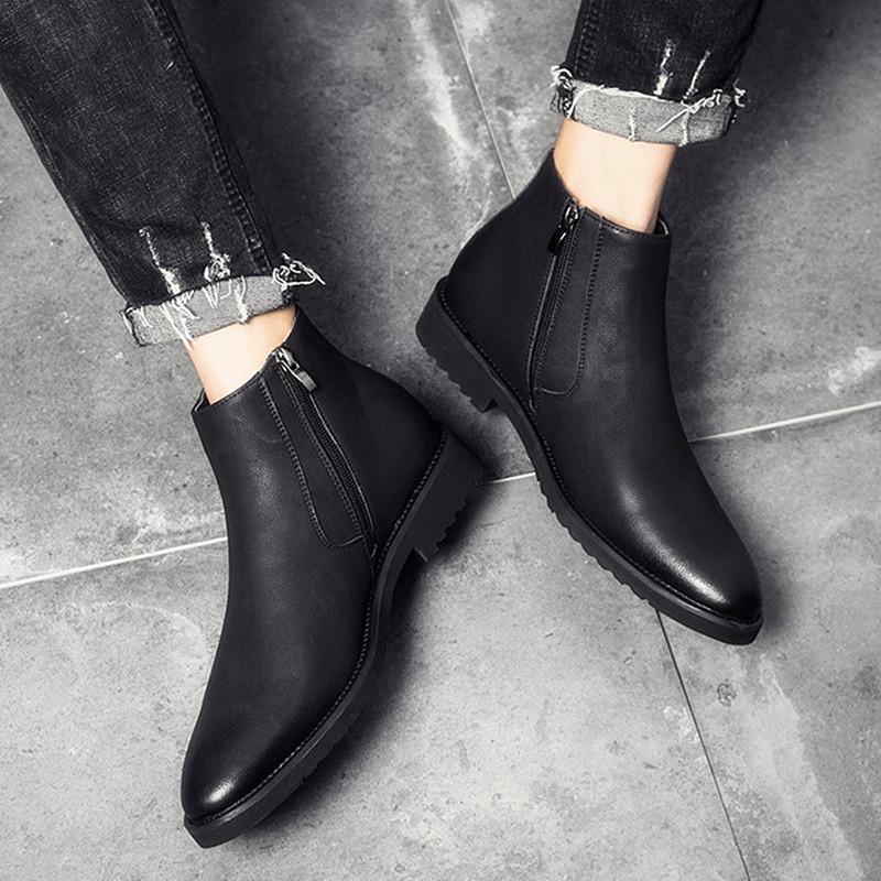 点击查看商品:秋冬季男士英伦复古切尔西靴尖头皮靴真皮加绒保暖短靴高帮皮鞋男
