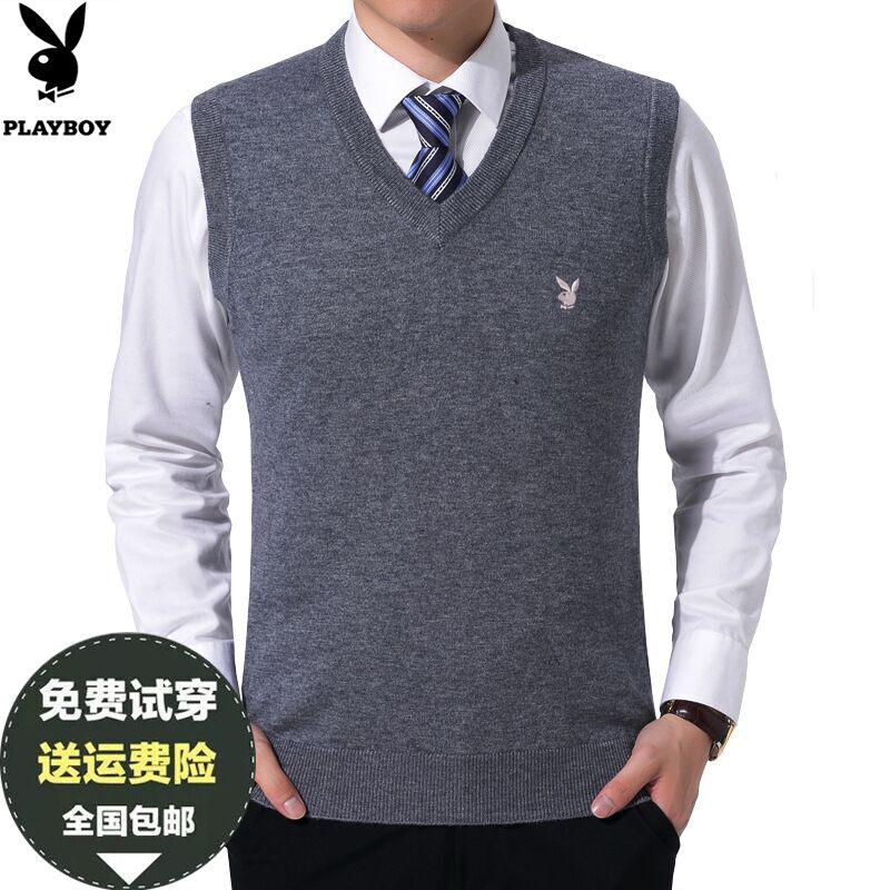 秋季中年男士羊毛背心V领针织衫马甲纯色男式坎肩商务爸爸装毛衣