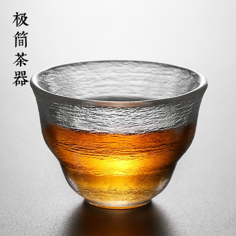 日式手工透明玻璃茶杯品茗杯个人杯主人杯红茶单杯功夫茶具闻香杯