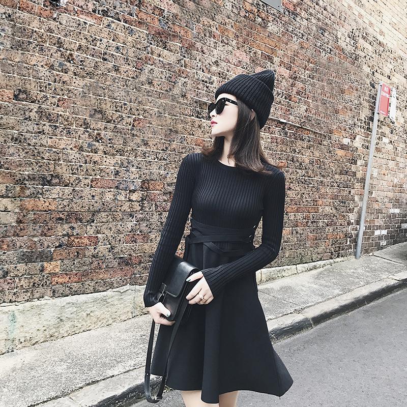【南大人】假两件针织A字连衣裙2017秋冬新款女修身显瘦绑带中裙