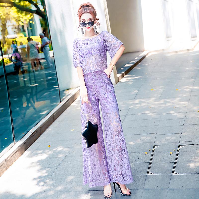 性感蕾丝透式时尚套装2018新夏款圆领短上衣配阔腿裤三件套女装